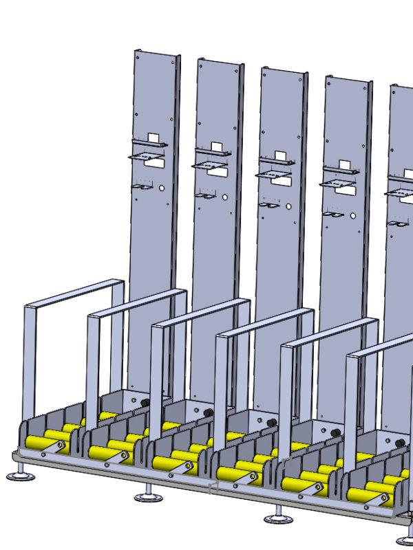 Mesa sextuple con soporte cargador